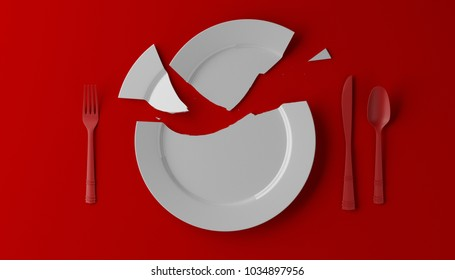 Photorealistic image of a broken white plate on red background. 3D illustration