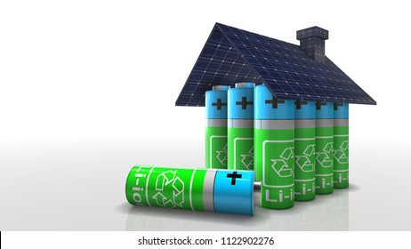 Photovoltaic battery solar panel green renewable energy storage future 3d render 3D Render Graphic