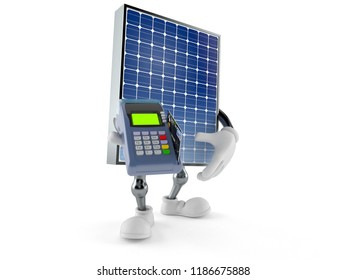 Photovoltaic panel character holding credit card reader isolated on white background. 3d illustration