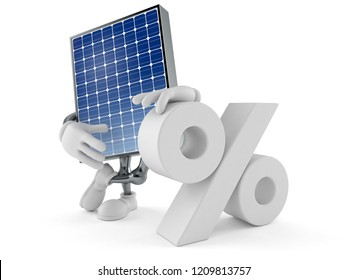 Photovoltaic panel character with percent symbol isolated on white background. 3d illustration