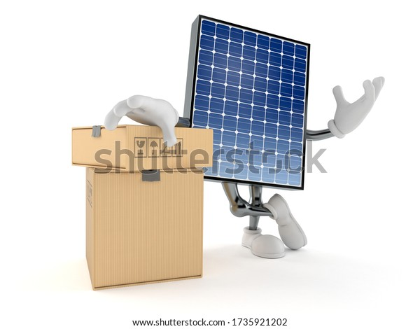 Fotovoltaik-Panel-Zeichen mit Stapel von Boxen isoliert auf weißem Hintergrund. 3D-Abbildung