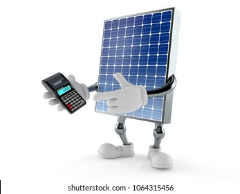 Photovoltaic panel character using calculator isolated on white background. 3d illustration