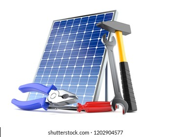 Photovoltaic panel with work tools isolated on white background. 3d illustration