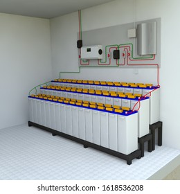 Photovoltaic Solar Power System Setup for Home, Expandable Solar Power System for House, 3D rendering