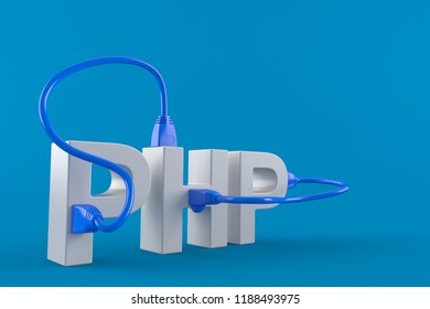 PHP text with network cable isolated on blue background. 3d illustration