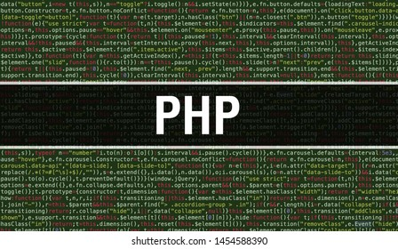 PHP text written on Programming code abstract technology background of software developer and Computer script. PHP concept of code on computer monitor. Coding PHP programming website
