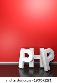 PHP written with white 3D letters standing on the black glossy floor of a room, leaning at its red wall. Dimensions fit A4 paper format and multiples - 3D rendering illustration
