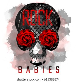 Phrase Rock Babies on snakeskin skull with flowers. Textile print with watercolor effect.
