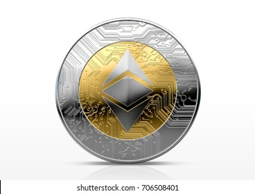 A physical ethereum classic cryptocurrency in gold and silver coin form on a dark studio background- 3D render