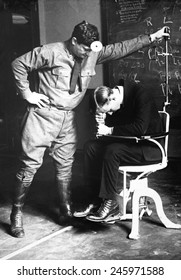 Physical examination of an aviation recruit's to the 'falling test'. It tests the sixth sense, that of equilibrium, the function of the labyrinth of the internal ear. WWI. March 19, 1918.