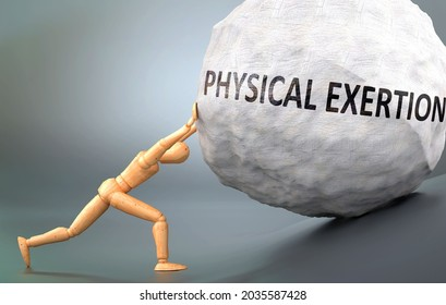 Physical exertion and painful human condition, pictured as a wooden human figure pushing heavy weight to show how hard it can be to deal with Physical exertion in human life, 3d illustration