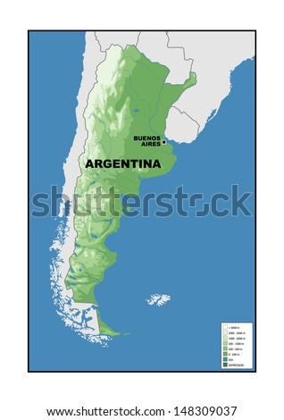 Physical Map Argentina Stock Illustration 148309037 - Shutterstock