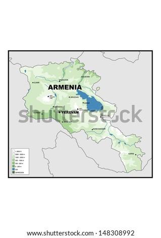 Physical Map Armenia Stock Illustration 148308992 - Shutterstock