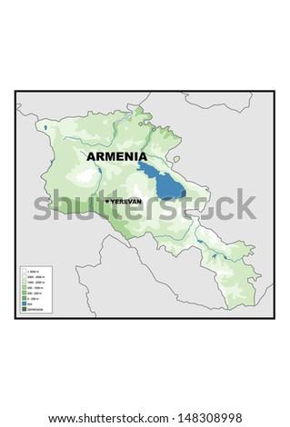 Physical Map Armenia Stock Illustration 148308998 - Shutterstock