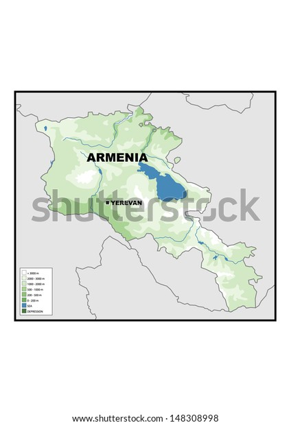 Physical Map Armenia Stock Illustration 148308998