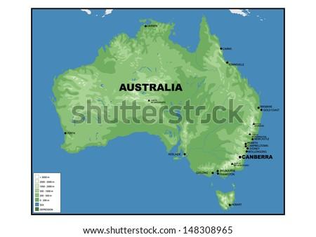 Physical Map Australia Stock Illustration 148308965 - Shutterstock