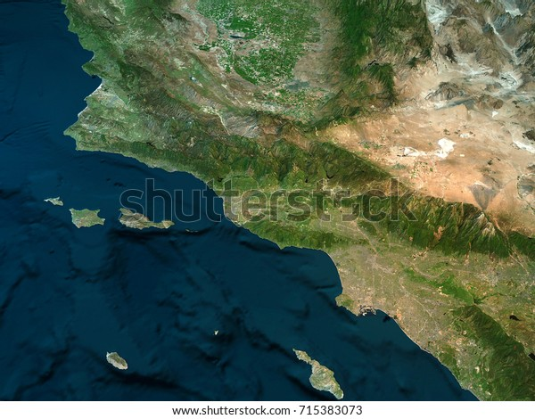Physical Map California Los Angeles Mountains Stockillustration ...