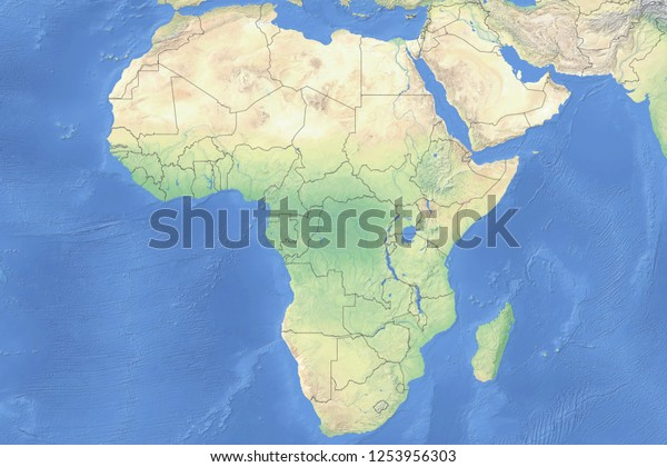Map Of Africa Detailed.Physical Map Countries Africa Detailed Topography Stock