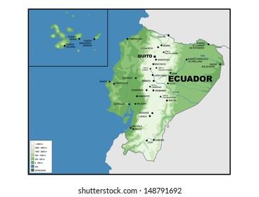 Physical map of Ecuador