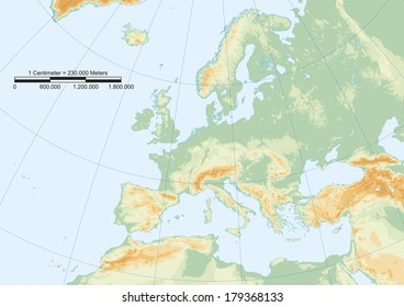 Europe Map Physical Map Europe Graticule Stock Vector Royalty Free