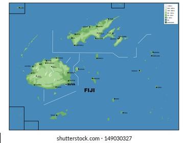 Physical map of Fiji