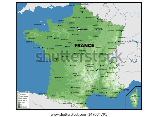 Physical Map France | Science, Education Stock Image