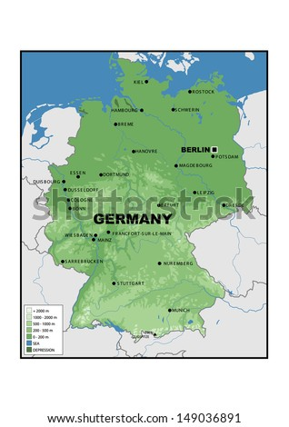 Physical Map Germany Stock Illustration Royalty Free Stock