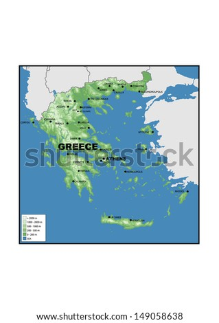 Royalty Free Stock Illustration of Physical Map Greece Stock ...