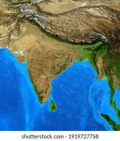 Physical map of India, Nepal, Himalayas and Tibet. Detailed flat view of the Planet Earth and its landforms. 3D illustration - Elements of this image furnished by NASA