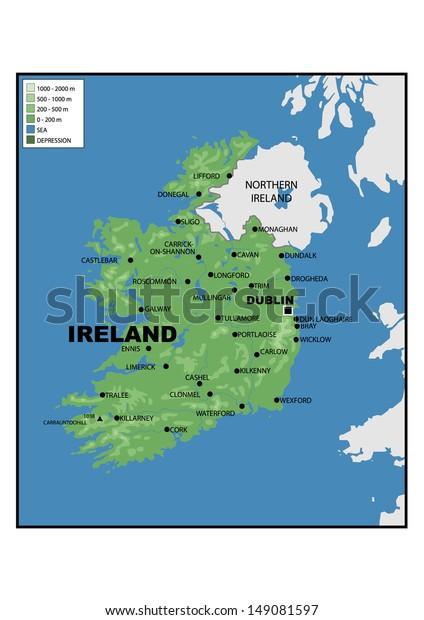 Physical Map Of Ireland.Physical Map Ireland Stock Illustration 149081597