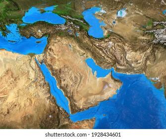 Physical map of Middle East. Geography of Arabian Peninsula. Detailed flat view of the Planet Earth and its landforms. 3D illustration - Elements of this image furnished by NASA