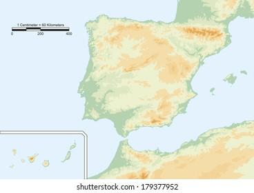 Mapa Fisic Catalunya Mut.1000 Mapa Fisico Espana Stock Images Photos Vectors
