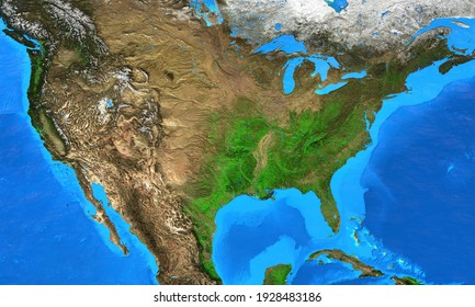 Physical map of The United States of America. Geography and topography of The USA. Detailed flat view of the Planet Earth and its landforms. 3D illustration - Elements of this image furnished by NASA
