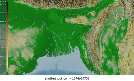 Physical map within the Bangladesh area in the stereographic projection with legend - raw composition of raster layers