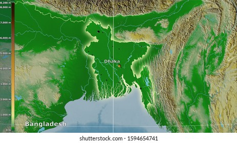 Physical map within the Bangladesh area in the stereographic projection with legend - main composition