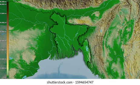 Physical map within the Bangladesh area in the stereographic projection with legend - raw composition of raster layers with dark glowing outline