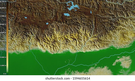 Physical map within the Bhutan area in the stereographic projection with legend - raw composition of raster layers