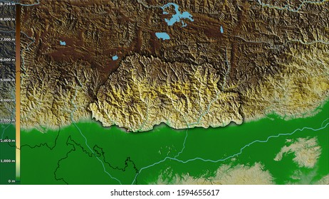 Physical map within the Bhutan area in the stereographic projection with legend - raw composition of raster layers with dark glowing outline