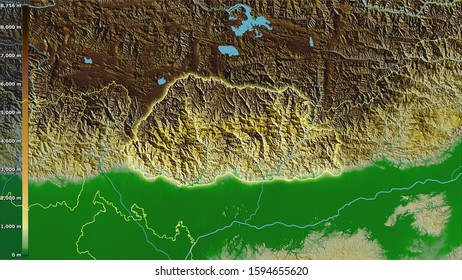Physical map within the Bhutan area in the stereographic projection with legend - raw composition of raster layers with light glowing outline