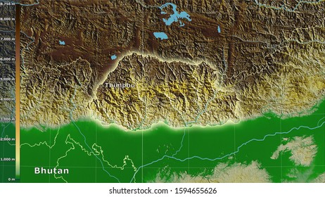 Physical map within the Bhutan area in the stereographic projection with legend - main composition