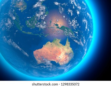 Physical map of the world, satellite view of Australia. Oceania. Globe. Hemisphere. Reliefs and oceans. 3d rendering. Elements of this image are furnished by NASA