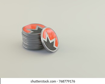 A physical monero cryptocurrency, background 3D render. Monero coins