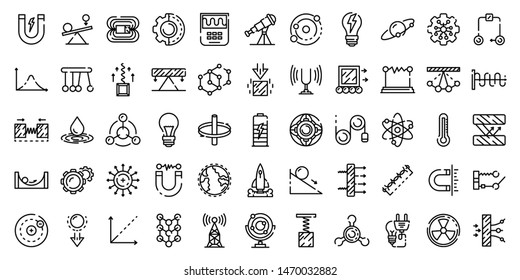 Physics icons set. Outline set of physics icons for web design isolated on white background