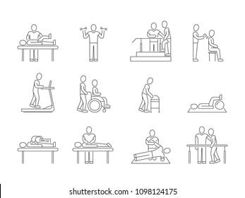 Physiotherapy and rehabilitation, exercises and massage therapy line medical icons. Medical patient, physical therapy exercise illustration