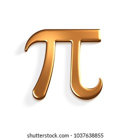 Pi Number Bronze Mathematical Symbol. 3D Render Illustration