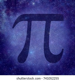Pi number is a mathematical constant whose value is the ratio of any circle's circumference to its diameter. Pi number is shown with starry sky as a background.