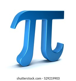Pi Number Mathematical Symbol on White Background. 3D Rendering Illustration