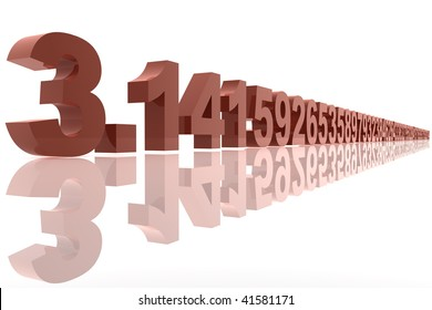 PI number written in red - 3D