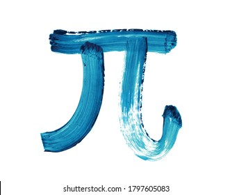 Pi symbol in blue ink on white background, Mathematical Constant, brush stroke texture, pi day, 14 march, sign pi, texture, calligraphy, mathematic, circumference, math class, 3.14,  Illustration
