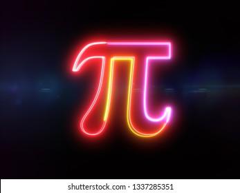 Pi symbol - colorful glowing outline greek alphabet symbol on blue lens flare dark background
